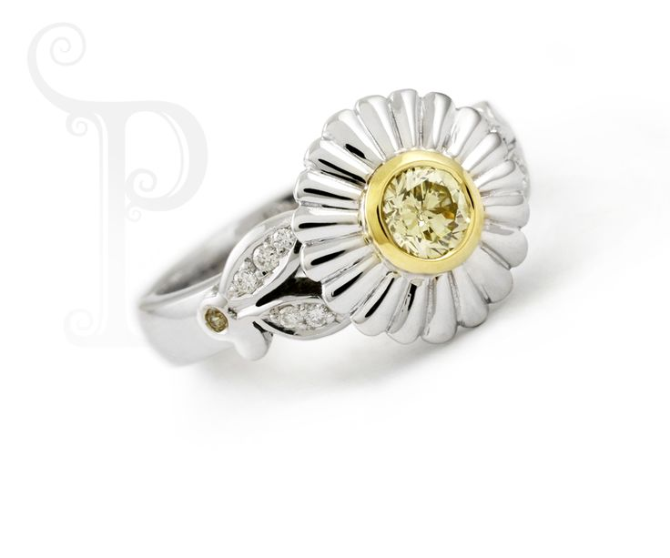 Handmade 18ct White & Yellow Gold Daisy Ring Set With A Sparkling Fancy Yellow Diamond and Small White Diamonds
