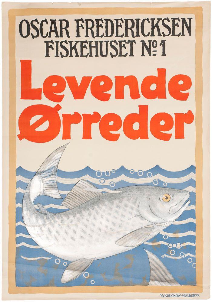 Levende Orreder-Trout. Vintage Fish Poster