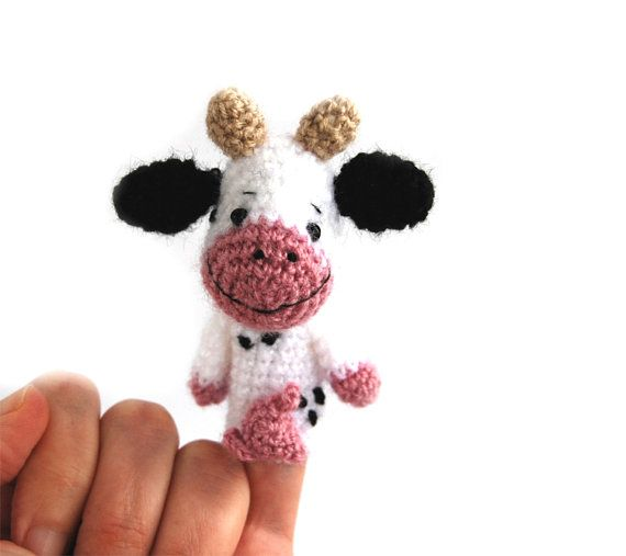 $21.64 #COW #puppet, #amigurumi #cow #finger #puppet, #crochet #puppet, #farm #animal #knit #puppet, #cuddly #puppet #toy, #funny #gift for #boy, #play #theater #doll