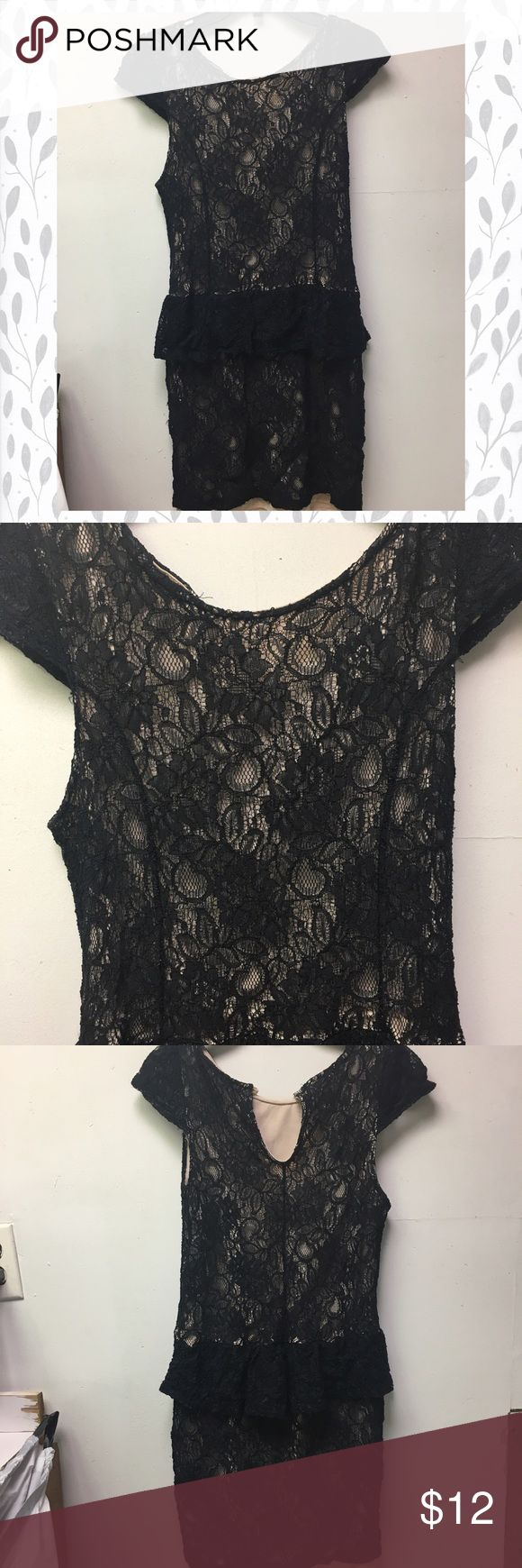 Black Lace w/ Underneath Nude Silk Mini Dress 👗 *** BACK BUTTON IS MISSING**** for you crafty ladies, a new button can be sewn on (; easy fix! Super cute, the price is right! Perfect for a cocktail dress, or a semi-formal event. Easily can be dressed up or down. It is in PERFECT condition!! Not one stain, no tears, has detailed black pattern on top with a nude silk-like underneath. It's very sexy and classy. (; the dress also has a cute flare mid-waist to highlight your curves. 💋💄 Poof…