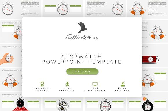 Stopwatch infographic | PowerPoint by ioffice24 on @creativemarket