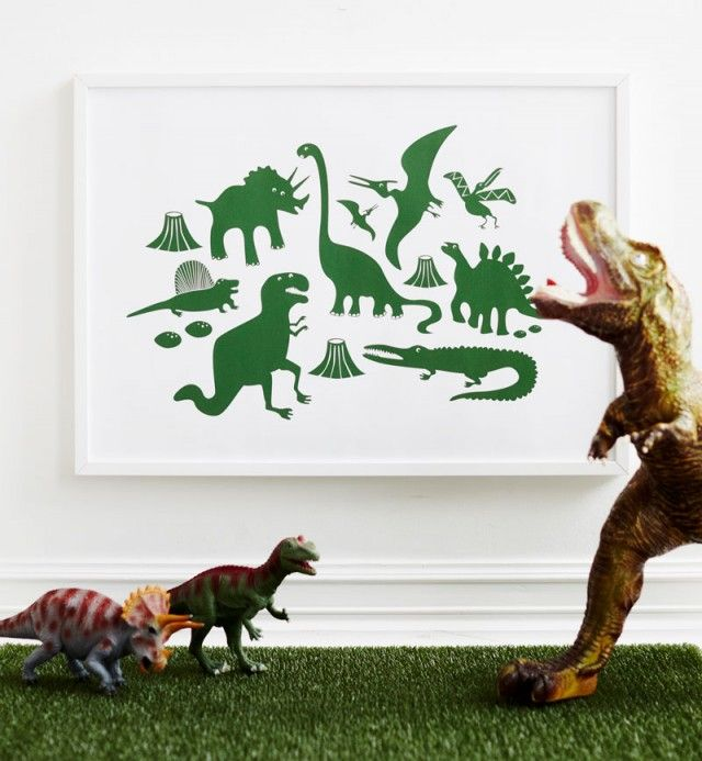 Poster – Dinoland by Ejvor #nordicdesigncollective #ejvor #poster #dinoland #dinosaur #green #juarssicpark #jurassic #childrensroom #kidsroom #kidsposter #childrensposter #art #print #wallart