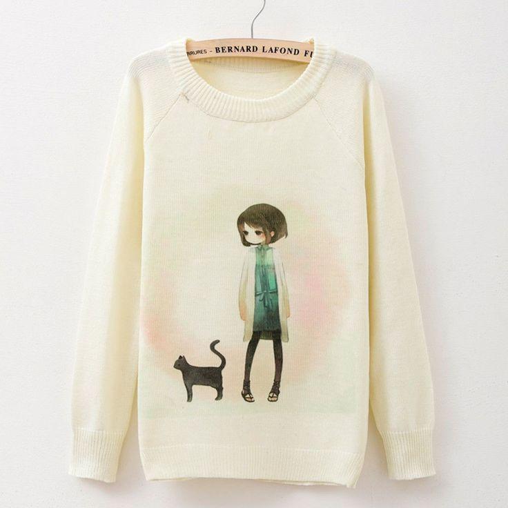 New Fashion Women Long Sleeve Cat Girl Print Sweater Coat Pullover Knitwear Tops | eBay