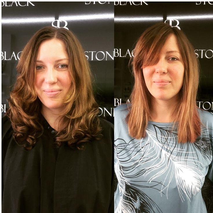 #rosegold #rosegoldhair #bob #shorthair #beforeandafterhair #balayage #ombre #brunette #brownhair #hairchange