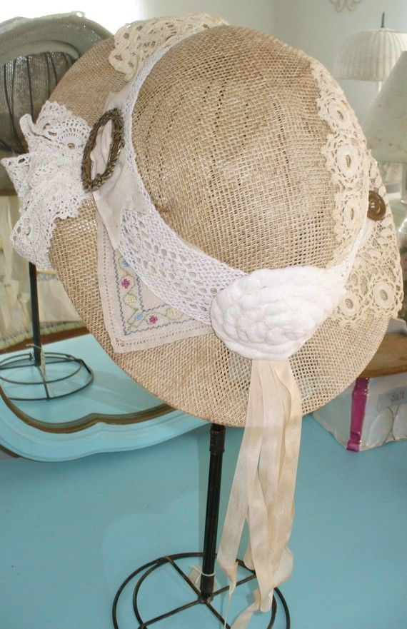 Vintage Womens Hats   VINTAGE WOMENS HAT STRAW PITH HELMET HAT WITH ANTIQUE LACE BUTTONS ...