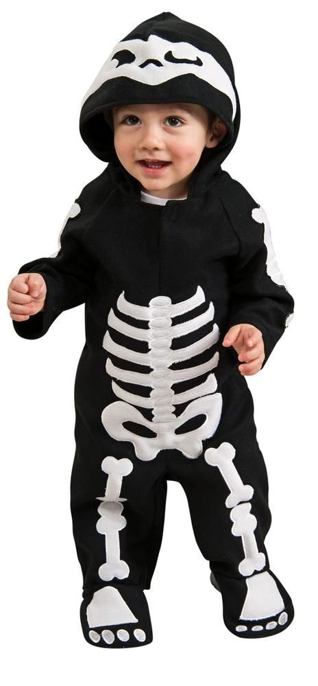 Skeleton Infant costume includes romper and headpiece. Our Infant boys Skeleton costume will be a hit at any Halloween party or trick-or-treating adventure. Everyone will rave about this boys Infant Skeleton costume, which is the perfect costume for any Halloween event.