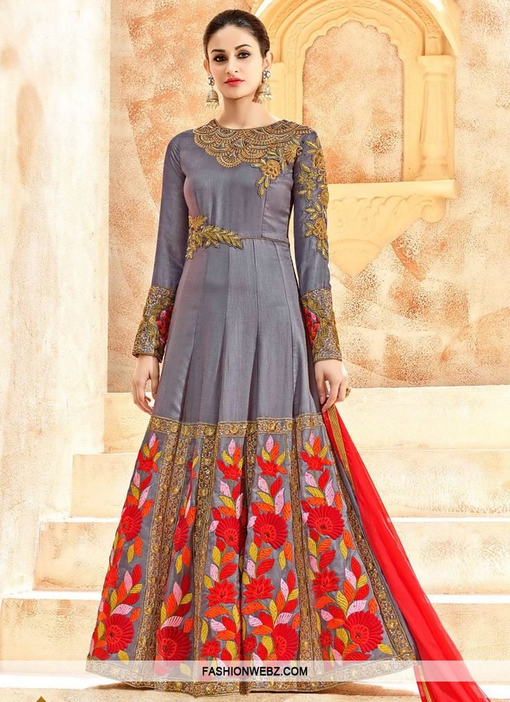 Art Silk Embroidered Work Long Length Designer Anarkali Suit