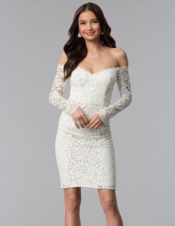 0cc2011e1f1fa 2019 Abiye Modelleri ve Şık Gece Elbiseleri Beyaz Kısa Omzu Açık Uzun Kol