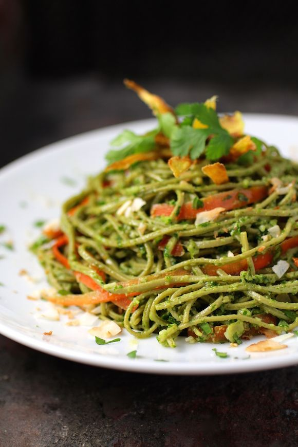 Edamame Spaghetti with Kale Cilantro Pesto  Carrot Ribbons, Toasted Coconut, Fried Ginger