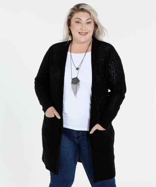 c95ca7bd5d439c Image_Cardigan Feminino Bolsos Plus Size Marisa | Cardigan em 2019 ...