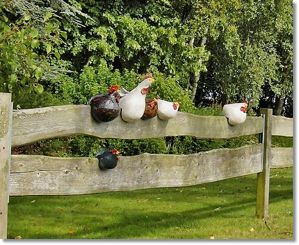 Cute idea to make paper mache chicken and a rooster to sit on ranch gate.
