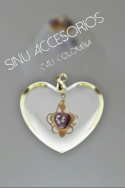 Sinu accesorios collar corazon flor blanca bronce con for Accesorios bano bronce