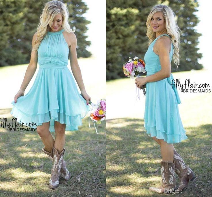 designer cheap country bridesmaid dresses short 2016 sky