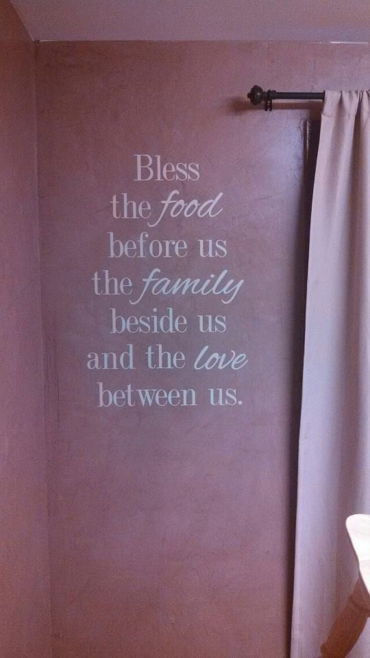 "Bless The Food Before Us The Family Beside Us and the Love Between Us - Family Dining Room Wall Words Vinyl Decal - Prayer Decal - 21"" x 30"". $30.00, via Etsy."