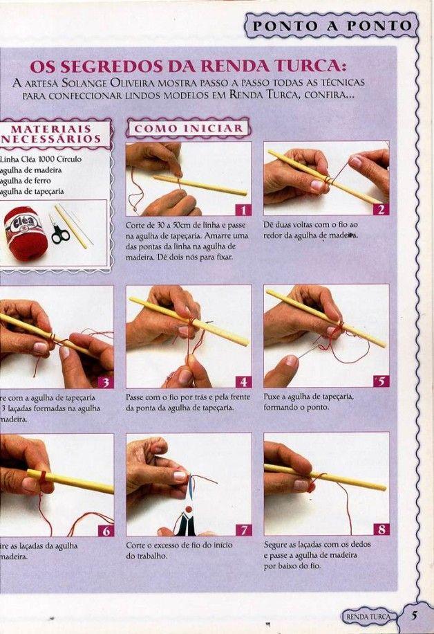 Renda Turca Ela é feita com linha e agulhas, mas não é considerada crochê nem tricô. Estamos falando da renda turca, antigo tipo de artesana...