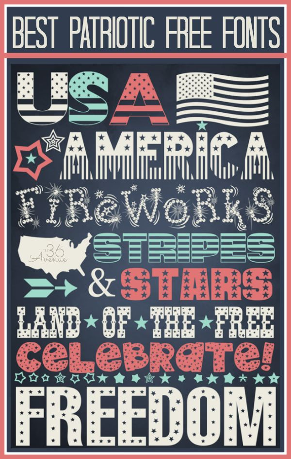 4th of July Free Fonts with links to their downloads at the36thavenue.com