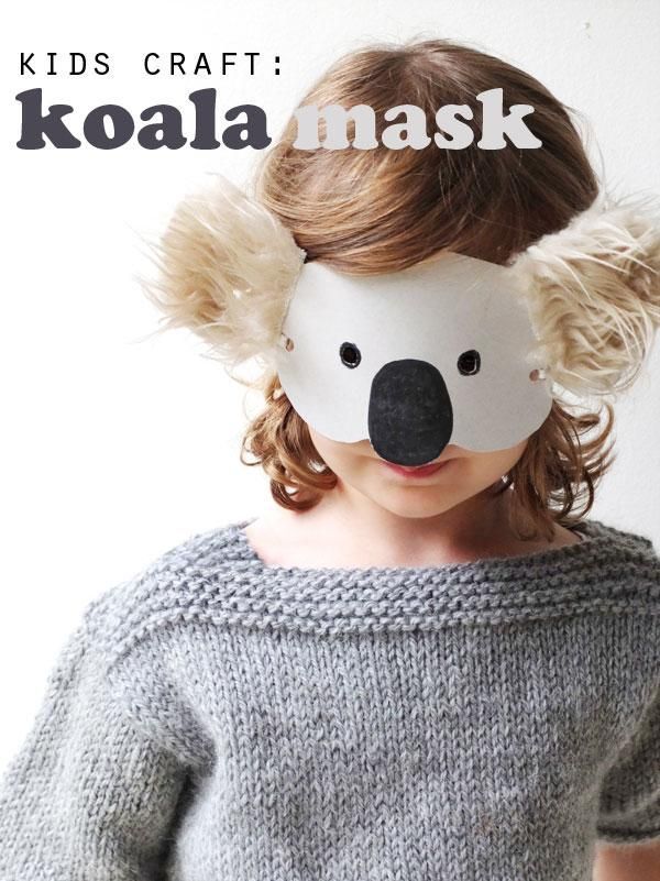 diy animal costume diy kids craft koala mask with template diy halloween halloween diy 39 s. Black Bedroom Furniture Sets. Home Design Ideas