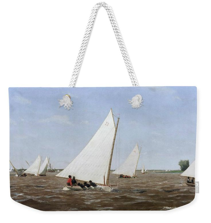 Thomas Eakins Weekender Tote Bag featuring the painting Sailboats Racing On The Delaware by Thomas Eakins
