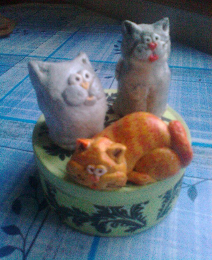 salt dough figurines -cat :-)