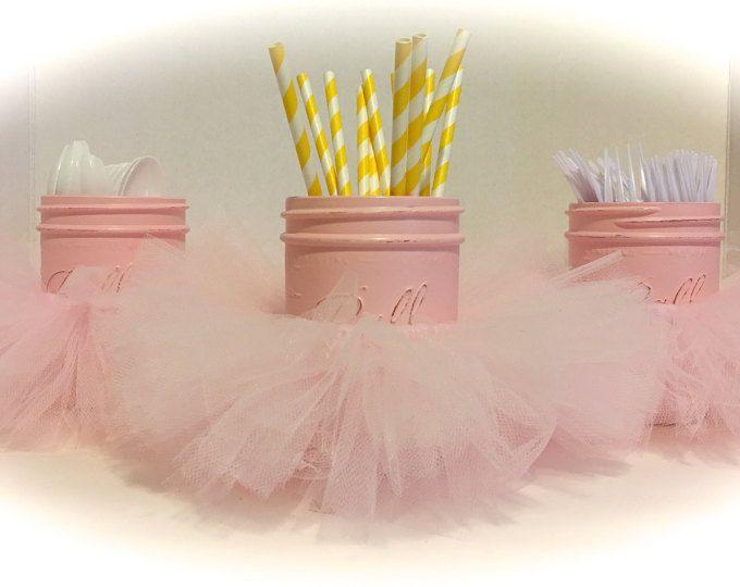 Pink Tutu Mason Jars. Hand Painted Mason Jars. Birthday Party Utensil Holders. Birthday Tutu Decor. Ballerina Decor. 1st Birthday Decor