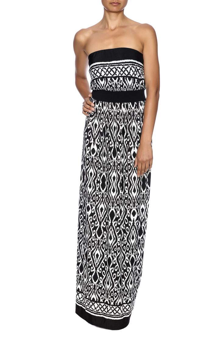 Black and white, strapless tribal print maxi dress with blouson top.    Sarah Tribal Maxi by tua. Clothing - Dresses - Maxi Clothing - Dresses - Printed Minneapolis, Minnesota