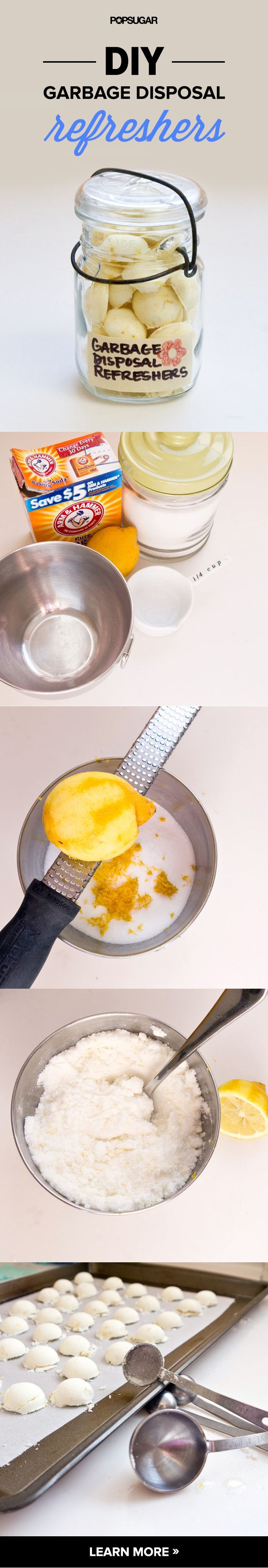 If your garbage disposal isn't as fresh as it should be, DIY these homemade refreshers for a quick fix. Made with lemon peel and baking soda, these little rounds pack a serious cleaning punch while costing only a few dollars to make. And they look darn cute in a glass jar next to your sink.