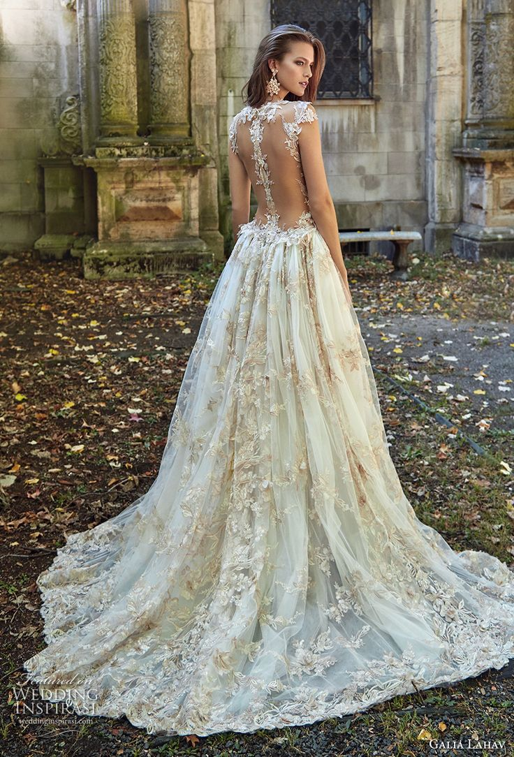 galia lahav fall 2017 bridal sleeveless deep plunging v neck full embellishment sexy princess ball gown a line wedding dress overskirt illusion low back chapel train (lilyrose) #weddingdress #wedding