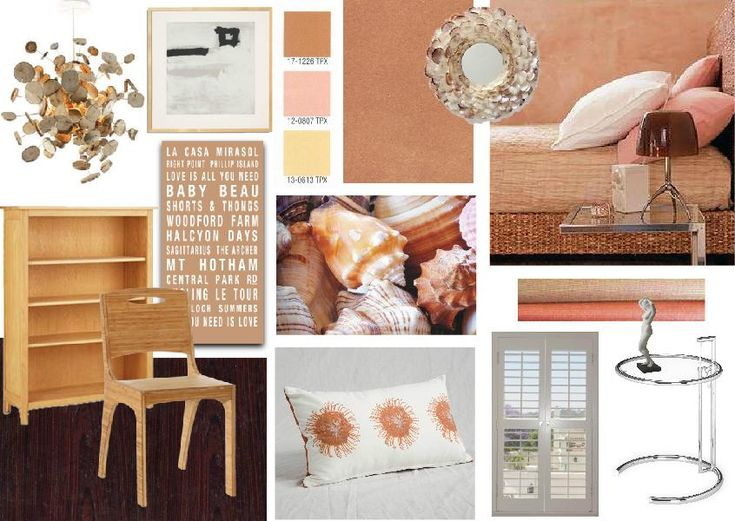Tropical hotel room inspired in the corals of the area. #interior #moodboard created using www.sampleboard.com