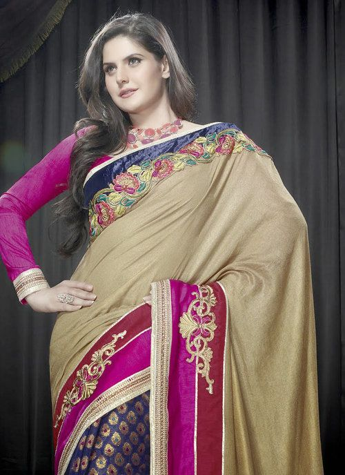 Multicolour Georgette Designer Saree Zarine Khan Collection
