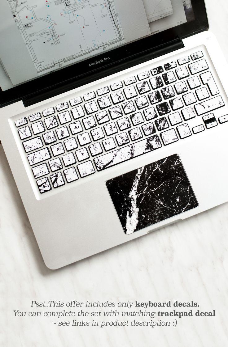 White Brani Marble Macbook Keyboard Decal Batterie Externe Iphone Accessoires De Telephone Et Decalque Macbook