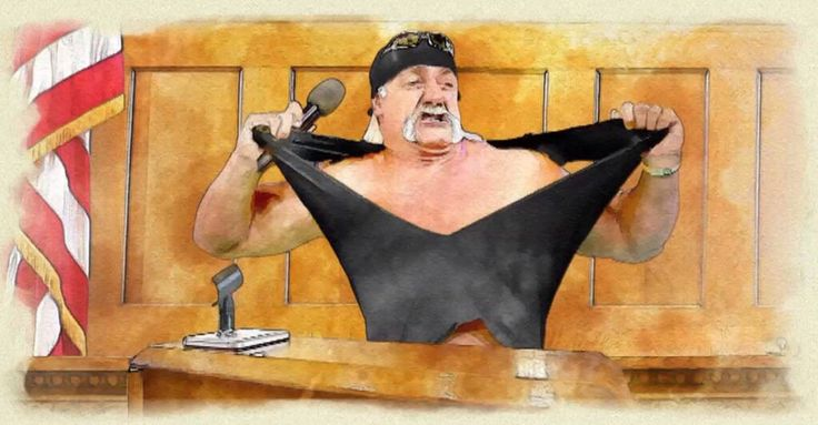 Actual courtroom sketch from Hulk Hogan's lawsuit