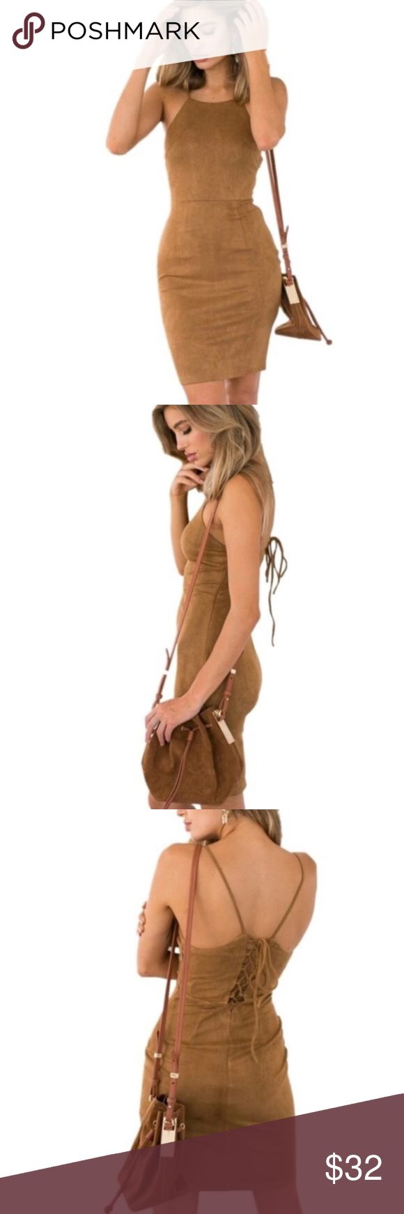 """🆕Sexy bodycon dress ❤️ Super cute and flirty camel Bodycon dress. Made out of acrylic and spandex materials (so it does have some stretch to it). It ties up from the back, spaghetti strap and it lands above the knee depending on ones height and body type. MEASUREMENTS: LENGTH: 29"""" BUST:34"""" ☺️ Dorimas Closet Dresses Midi"""
