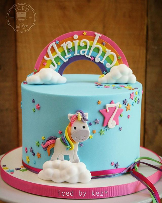 Ariahn's Rainbow Unicorn Cake!! I've made her bday cake for the last three years :) this one makes me smile :) #icedbykez #pettinice #rainbow #unicorn