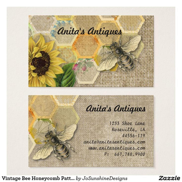 Vintage Bee Honeycomb Pattern Linen Business Card