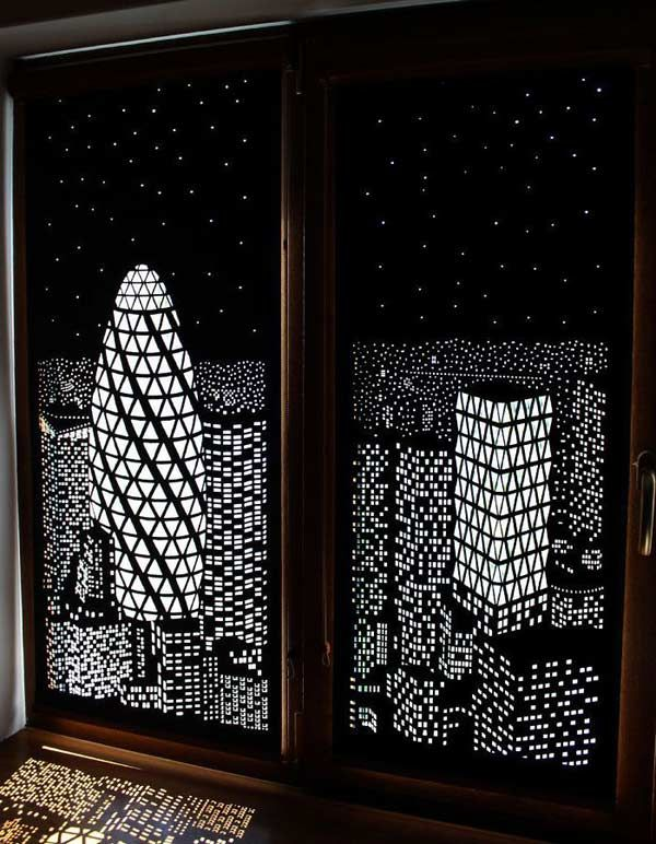 Curtains Blackout With A Panorama Of The Night City In 1939 Britain