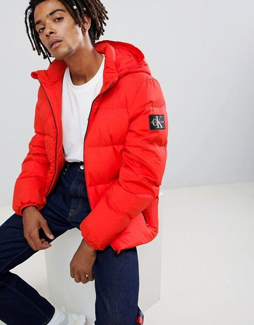 Calvin Klein Jeans puffer jacket with logo patch   Fits   Calvin ... 513fb457228