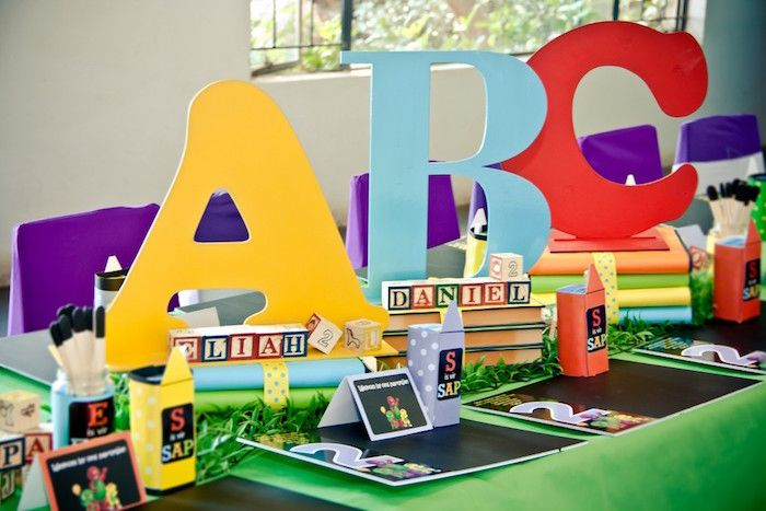 Centerpieces + Place Settings from a Barney & Friends ABC Birthday Party via Kara's Party Ideas | KarasPartyIdeas.com (15)