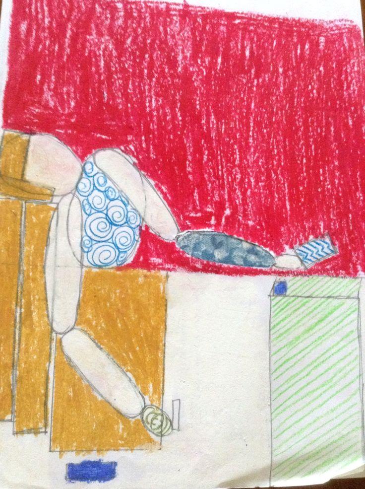 Geïnspireerd op kunstwerk 'De Dood van Marat'. (Van David) Stap 1: Vereenvoudig het kunstwerk (stileren). Stap 2: kleur een 3-tal delen in om de focus op te vestigen. Stap 3: geef een 4-tal delen een bepaald patroon. Stap 4: knip een deel uit en vervang het door een bepaalde stof.