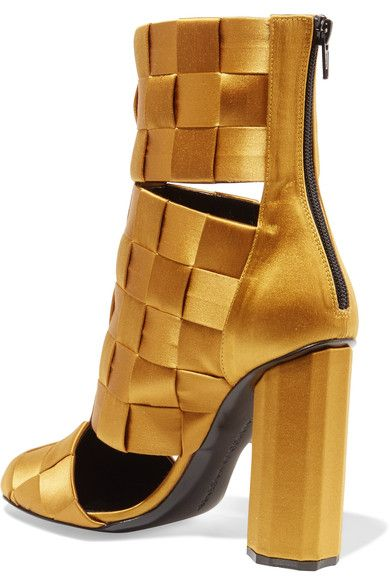 Marco De Vincenzo - Cutout Basketweave Satin Ankle Boots - Mustard - IT37.5
