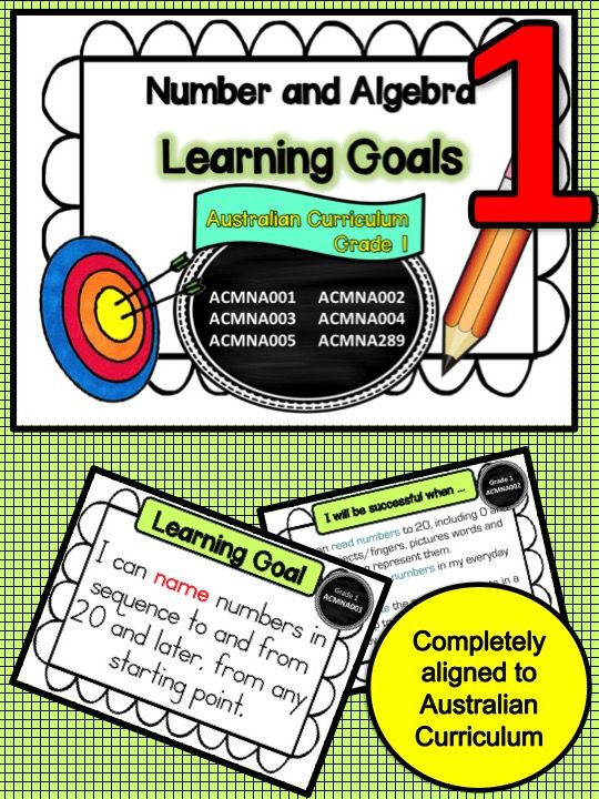 This packet has all the posters you will need to display the learning goals for grade 1 Australian Curriculum Maths – Number and Algebra. All content descriptors have been reworded into smart goals with an accompanying poster showing the success criteria needed to achieve these goals. I am currently working on the same file for the other mathematics strands and a packet that will have assessments for each of the success criteria pertaining to each learning goal.