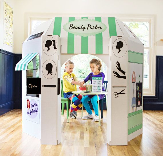 Where To Buy Cafe Kid Furniture: Beauty Shop Cardboard Playhouse For Kids/see Etsy Shop