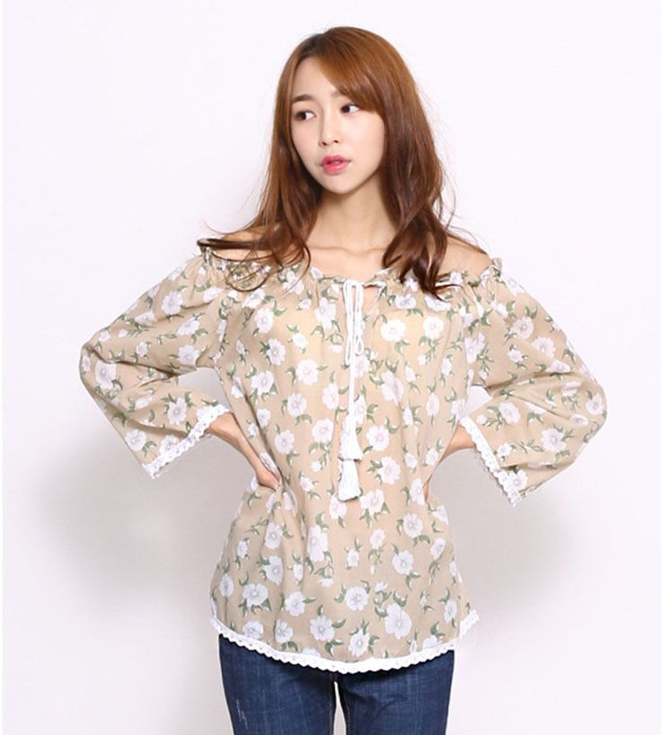 8059 Women's Lovely Floral Band Open Shoulder Lace Sleeve Top/Blouse, 4 options…