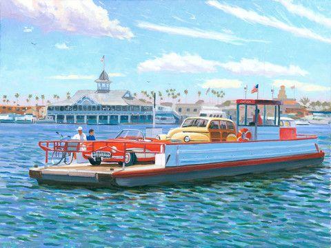 Balboa Island Ferry heading from the Balboa Peninsula back to Balboa Island.