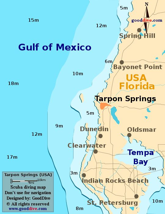 Tarpon Springs, Florida. Tarpon Springs map designed and copyright by gooddive.com.  SOMEONE NEEDS TO LEARN HOW TO SPELL TAMPA BAY