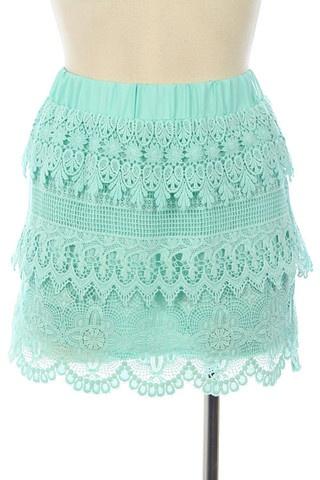 Keepsake Lace Skirt in Mint