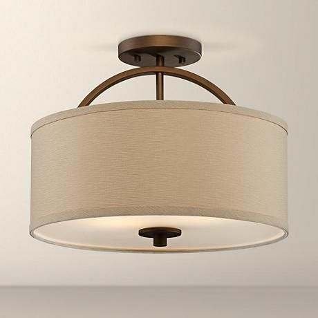 "Halsted Brushed Bronze Semi-Flush 15"" Wide Ceiling Light - #T8954 