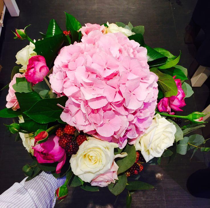Hortensias roses de jardin mûres
