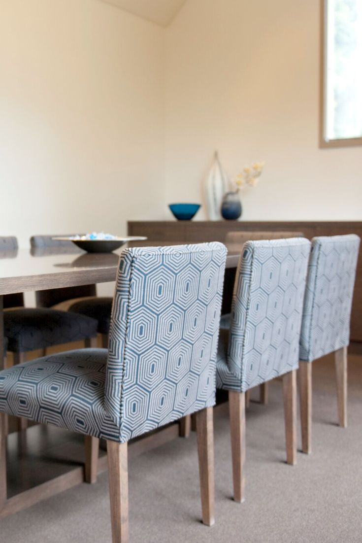 Emme Designs custom dining chair in a blue pattern design fabric.