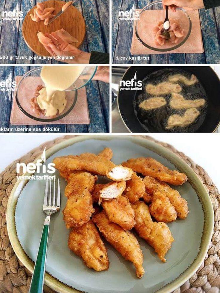 Çıtır Tavuk Kalamar Malzemeler 500 gr tavuk göğsü 1 çay kaşığı pul biber 1 çay kaşığı kekik 1 tatlı kaşığı tuz, karabiber Sosu için: 1 yumurta 1 şişe iç... - f. özbağ - Google+