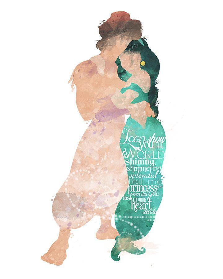 A linda princesa Jasmim, com o seu amado Alladin, em mais um encontro amoroso depois de uma aventura e tanto.